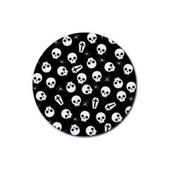 Skull, Spider And Chest    Halloween Pattern Rubber Coaster (round)  by Valentinaart