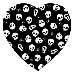 Skull, Spider And Chest    Halloween Pattern Jigsaw Puzzle (heart) by Valentinaart