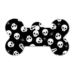 Skull, Spider And Chest    Halloween Pattern Dog Tag Bone (two Sides) by Valentinaart