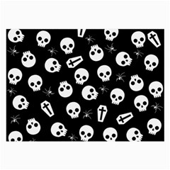 Skull, Spider And Chest    Halloween Pattern Large Glasses Cloth by Valentinaart