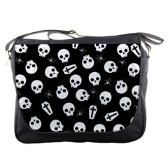 Skull, Spider And Chest    Halloween Pattern Messenger Bags by Valentinaart