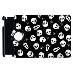 Skull, Spider And Chest    Halloween Pattern Apple Ipad 3/4 Flip 360 Case by Valentinaart