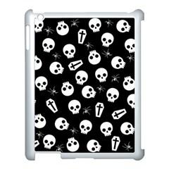 Skull, Spider And Chest    Halloween Pattern Apple Ipad 3/4 Case (white) by Valentinaart