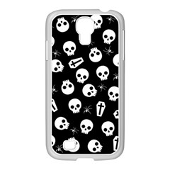 Skull, Spider And Chest    Halloween Pattern Samsung Galaxy S4 I9500/ I9505 Case (white) by Valentinaart