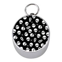 Skull, Spider And Chest    Halloween Pattern Mini Silver Compasses by Valentinaart