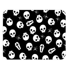 Skull, Spider And Chest    Halloween Pattern Double Sided Flano Blanket (large)  by Valentinaart
