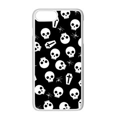Skull, Spider And Chest    Halloween Pattern Apple Iphone 7 Plus White Seamless Case by Valentinaart