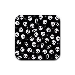 Skull, Spider And Chest    Halloween Pattern Rubber Square Coaster (4 Pack)  by Valentinaart