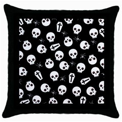 Skull, Spider And Chest    Halloween Pattern Throw Pillow Case (black) by Valentinaart