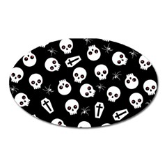 Skull, Spider And Chest    Halloween Pattern Oval Magnet by Valentinaart
