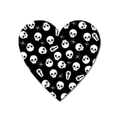 Skull, Spider And Chest    Halloween Pattern Heart Magnet by Valentinaart
