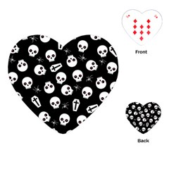 Skull, Spider And Chest    Halloween Pattern Playing Cards (heart)  by Valentinaart