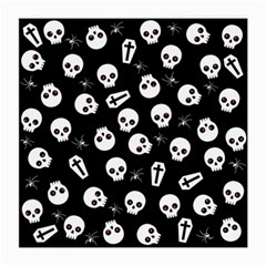 Skull, Spider And Chest    Halloween Pattern Medium Glasses Cloth (2 Side) by Valentinaart