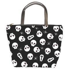 Skull, Spider And Chest    Halloween Pattern Bucket Bags by Valentinaart