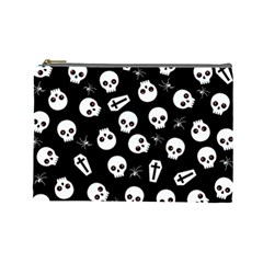 Skull, Spider And Chest    Halloween Pattern Cosmetic Bag (large)  by Valentinaart