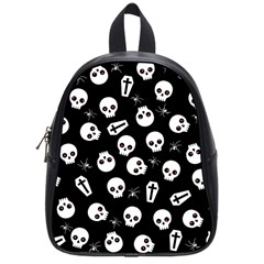 Skull, Spider And Chest    Halloween Pattern School Bag (small) by Valentinaart