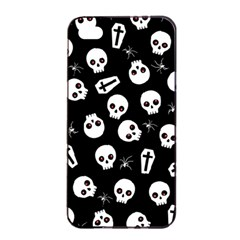 Skull, Spider And Chest    Halloween Pattern Apple Iphone 4/4s Seamless Case (black) by Valentinaart