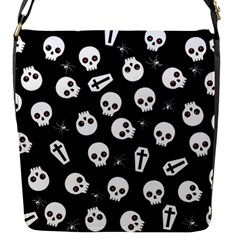 Skull, Spider And Chest    Halloween Pattern Flap Messenger Bag (s) by Valentinaart