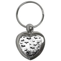 Vintage Halloween Bat Pattern Key Chains (heart)  by Valentinaart