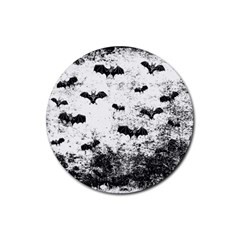 Vintage Halloween Bat Pattern Rubber Coaster (round)  by Valentinaart