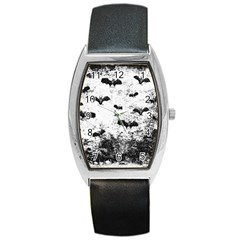 Vintage Halloween Bat Pattern Barrel Style Metal Watch by Valentinaart