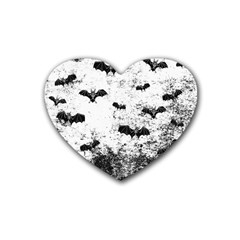 Vintage Halloween Bat Pattern Heart Coaster (4 Pack)  by Valentinaart