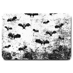 Vintage Halloween Bat Pattern Large Doormat  by Valentinaart
