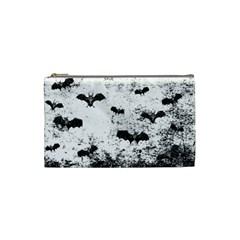 Vintage Halloween Bat Pattern Cosmetic Bag (small)  by Valentinaart