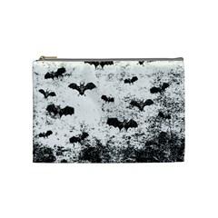 Vintage Halloween Bat Pattern Cosmetic Bag (medium)  by Valentinaart