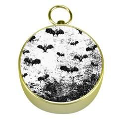 Vintage Halloween Bat Pattern Gold Compasses by Valentinaart