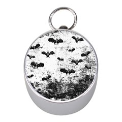 Vintage Halloween Bat Pattern Mini Silver Compasses by Valentinaart