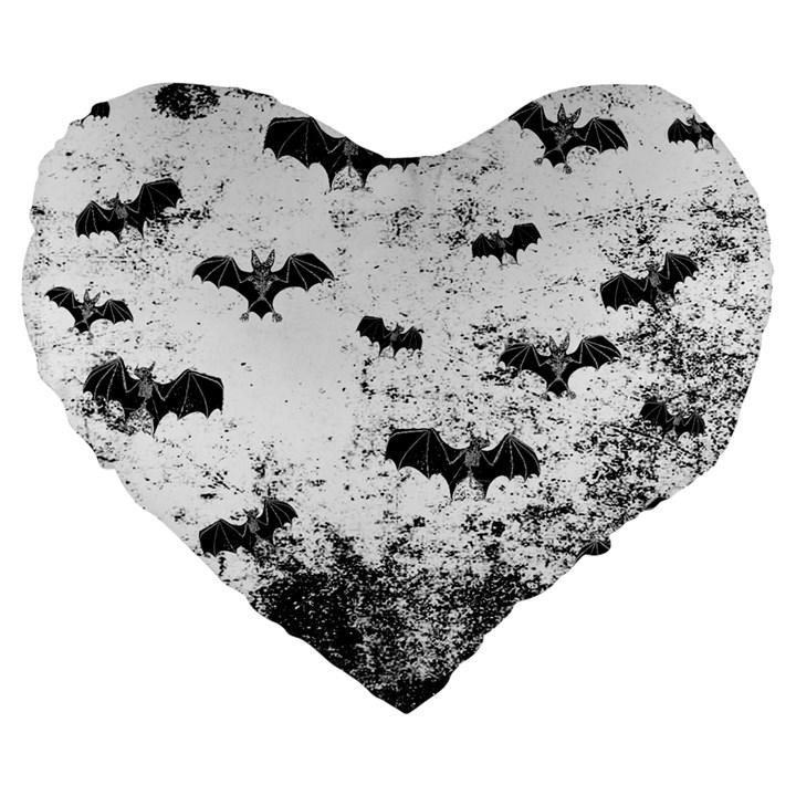 Vintage Halloween Bat pattern Large 19  Premium Flano Heart Shape Cushions