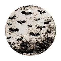Vintage Halloween Bat Pattern Ornament (round) by Valentinaart