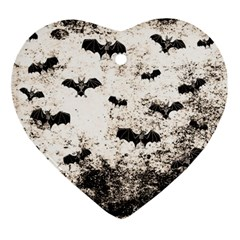 Vintage Halloween Bat Pattern Ornament (heart) by Valentinaart