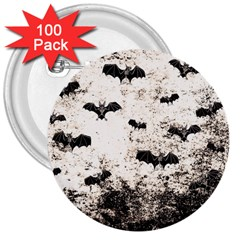 Vintage Halloween Bat Pattern 3  Buttons (100 Pack)  by Valentinaart