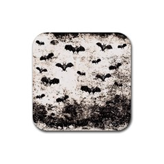 Vintage Halloween Bat Pattern Rubber Square Coaster (4 Pack)  by Valentinaart