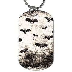Vintage Halloween Bat Pattern Dog Tag (two Sides) by Valentinaart