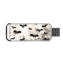 Vintage Halloween Bat Pattern Portable Usb Flash (two Sides) by Valentinaart