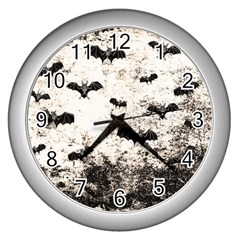 Vintage Halloween Bat Pattern Wall Clocks (silver)  by Valentinaart