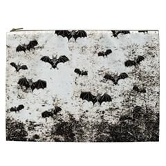 Vintage Halloween Bat Pattern Cosmetic Bag (xxl)  by Valentinaart