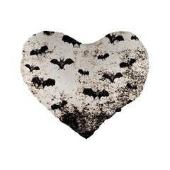 Vintage Halloween Bat Pattern Standard 16  Premium Flano Heart Shape Cushions by Valentinaart