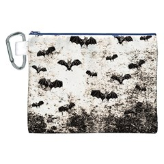 Vintage Halloween Bat Pattern Canvas Cosmetic Bag (xxl) by Valentinaart