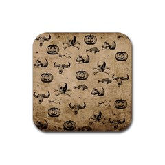 Vintage Halloween Pattern Rubber Coaster (square)  by Valentinaart