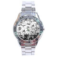 Vintage Halloween Pattern Stainless Steel Analogue Watch by Valentinaart