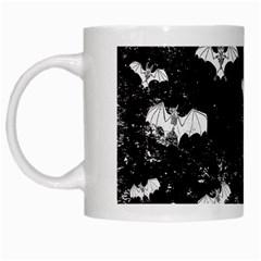Vintage Halloween Bat Pattern White Mugs by Valentinaart