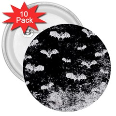 Vintage Halloween Bat Pattern 3  Buttons (10 Pack)  by Valentinaart