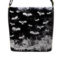 Vintage Halloween Bat Pattern Flap Messenger Bag (l)  by Valentinaart