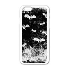 Vintage Halloween Bat Pattern Apple Iphone 6/6s White Enamel Case by Valentinaart