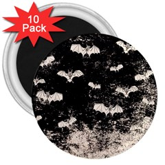Vintage Halloween Bat Pattern 3  Magnets (10 Pack)  by Valentinaart