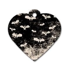 Vintage Halloween Bat Pattern Dog Tag Heart (one Side) by Valentinaart